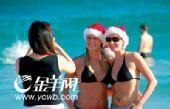 组图:火辣澳洲 穿着泳装过圣诞