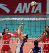 图文:天津3-1八一夺得女排冠军 天津组织背快