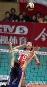 图文:天津3-1八一夺得女排冠军 双方激烈较量