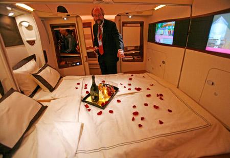 """这是10月17日在新加坡拍摄的空客A380客机的""""豪华套舱""""。"""