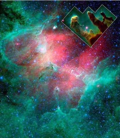 """从NASA公布的这样斯匹哲太空望远镜拍摄的照片来看,天鹰座星云的绿色背景中心正出现一大片被超新星爆炸灼烧地发红的区域,""""创造之柱""""正在超新星冲击波的路径上。"""