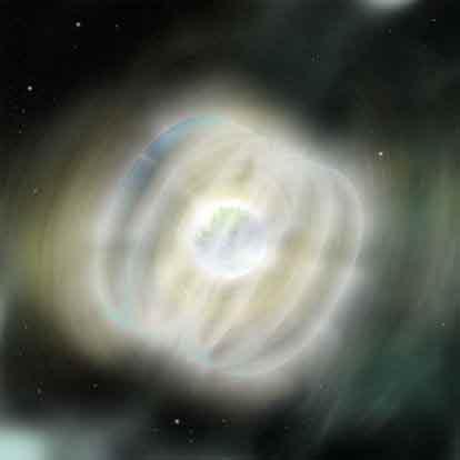 艺术家画出了距地球1.5万光年的超强磁星体释放大量x射线时的想象图。