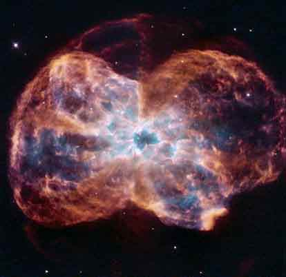 """2月13日,NASA发布了""""哈勃""""望远镜拍摄的一张照片,NGC 2440星云中心呈现出的亮点就是一颗白矮星,也是一颗行将死亡的恒星。"""
