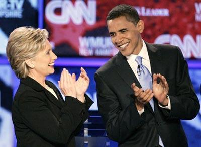 希拉里(左)和奥巴马,谁主沉浮?
