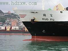 """肇事的新加坡""""国富号""""集装箱货轮(电视截图)"""