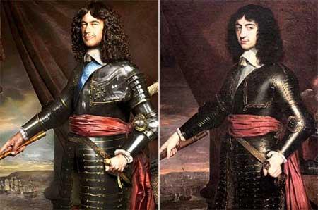 查理·菲兹莱(左)和祖先查理二世