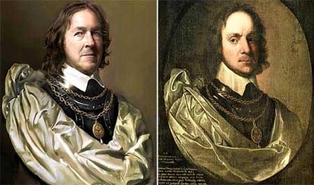 查理·布什(左)和其祖先克伦威尔
