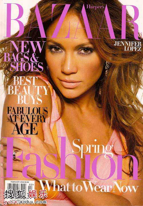 詹妮弗-洛佩兹成为时尚杂志《Harper's Bazaar》2月号的封面人物