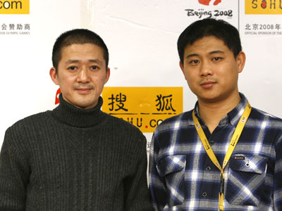 现场合影 新世纪优选分红基金经理曹名长(左)