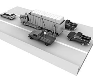 前后左右都是盗窃团伙的车辆,迫使运输原料的货车放慢速度。