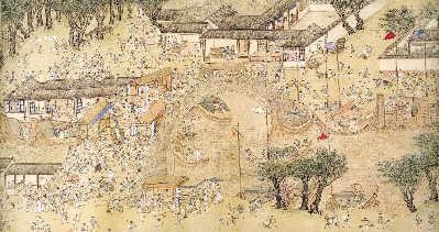 仇英的《清明上河图》(局部)以明代苏州城为背景,描绘了明代江南图片