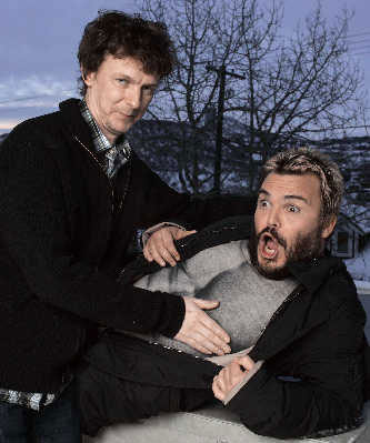 米歇尔·冈德利(左)和杰克·布莱克在圣丹斯宣传新片《王牌制片家》