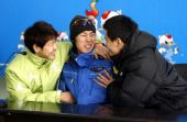 图文:速滑男短赛后发布会 三人一脸笑容