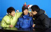 图文:速滑男短赛后发布会 三人高兴万分