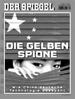 """《明镜》周刊辱华报道封面,标题为""""黄色间谍""""。"""