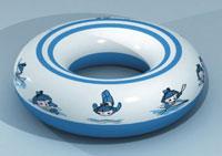 图文:奥运特许春节新品 充气五福娃游泳圈蓝