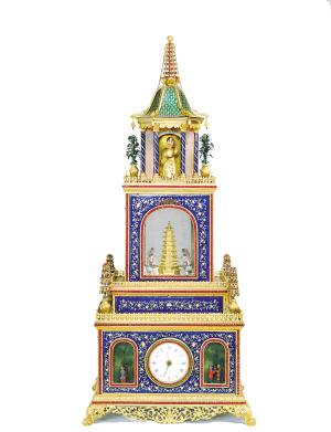 铜镀金珐琅亭式内有升降塔钟