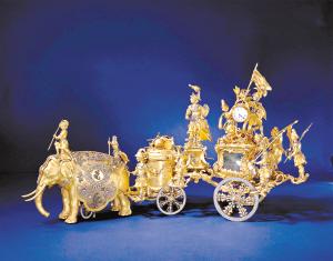 铜镀金象拉战车钟