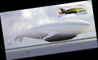 飞艇的外观示意图。
