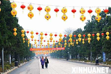 长沙市烈士公园彩灯高挂(2月5日摄)。