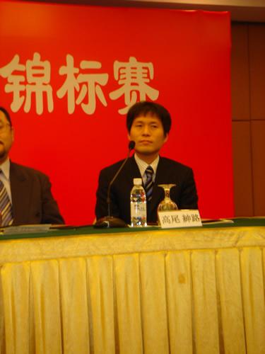 图文:农心杯决赛阶段发布会 高尾绅路九段发言