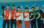 图文:林跃/火亮双人10米台夺冠 领奖台合影
