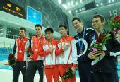 图文:林跃/火亮双人10米台夺冠 前三名合影