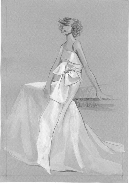 小礼服设计图手稿铅笔画图片展示