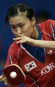 图文:日本女团3-2击败韩国 韩国选手反拍推球