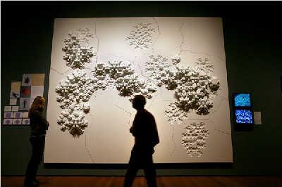 """作品""""六边形规则""""模仿微观的纳米世界的增长模式"""