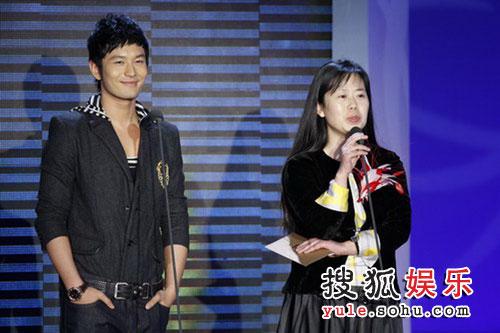 图:现场 黄晓明与搜狐首席营销官王昕