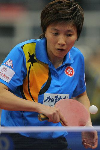 中国女队VS中国香港 林菱认真反手回球