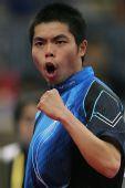图文:世乒赛团体赛最兴奋庆祝 庄智渊倾情发泄