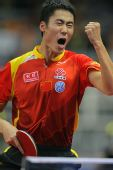图文:世乒赛团体赛最兴奋庆祝 王励勤振臂高呼