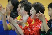 图文:世乒赛团体赛最兴奋庆祝 金花兴奋无比
