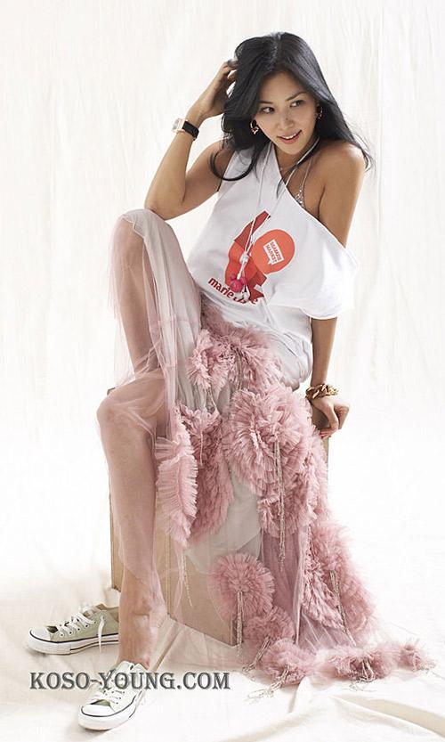 高小英粉色长裙拖地