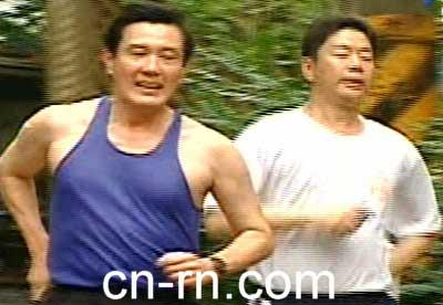 马英九早上照常跑步。