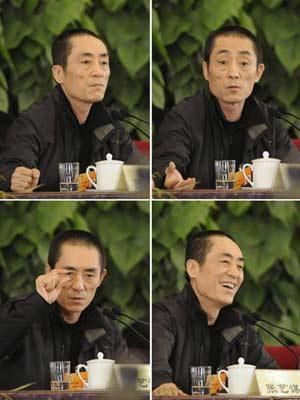 张艺谋委员回答记者提问时的4个瞬间。新华社记者戴旭明摄