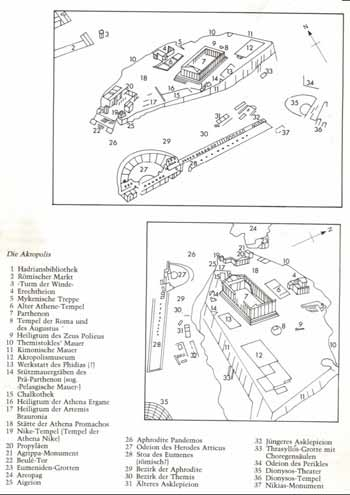 雅典卫城遗迹分布图