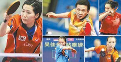 图片中的人物: 1.引发争议的韩国队运动员唐娜;2.45岁的西班牙队运动员何志文;3.39岁的美国队运动员高军;4.中国香港队运动员帖亚娜;5.35岁的荷兰队运动员李佼。