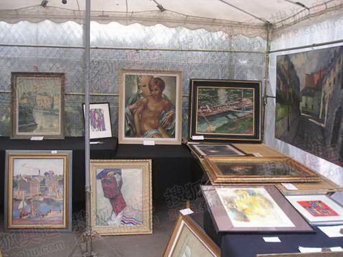 图文:巴黎风光 跳蚤市场油画