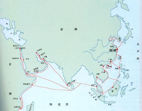 海上丝绸之路示意图