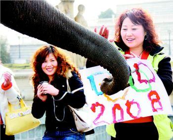 游客们收到了意外的礼物十分开心。