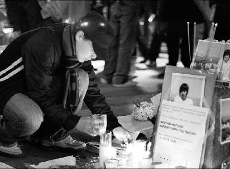 中国留学生自发组织为遇害学生严明举行追悼活动 供图/全法学联