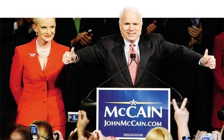 2月6日,麦凯恩初步奠定美国共和党总统候选人提名基础