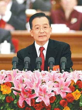 三月五日,国务院总理温家宝作政府工作报告。
