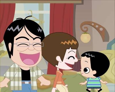 喜欢上动画片里幸福的一家人!图片
