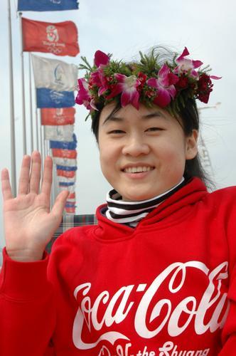 """中国 青岛/中国第一个大学生轮椅""""奥运火炬手""""亮相青岛"""