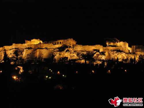 雅典卫城夜景