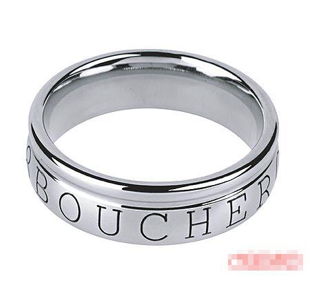 Boucheron 18K白金Logo戒指